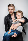 The portrait of a little boy and his father. Fathers day Stock Photo