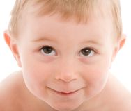 Portrait of little boy isolated on white Royalty Free Stock Photo