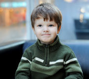 The portrait of the little boy in a knitted sweater, sits on a s Royalty Free Stock Image
