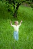 Portrait of little boy on meadow. Portrait of happy little boy on sunny meadow Royalty Free Stock Image