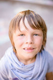 Portrait of little boy outdoors. In public park Royalty Free Stock Image