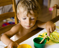 Portrait of little boy painting Royalty Free Stock Photography