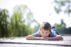 Portrait of a little boy in the park Royalty Free Stock Image