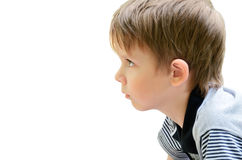 Portrait of a little boy in profile Stock Images