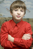 Portrait little boy in red shirt Royalty Free Stock Photos