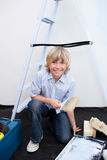 Portrait of little boy renovating home Royalty Free Stock Photos