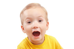 Portrait of a little boy screaming out loud isolated on white. Close-up portrait of a little boy screaming out loud isolated on white background Stock Image