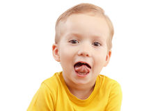 Portrait of a little boy screaming out loud isolated on white. Close-up portrait of a little boy screaming out loud isolated on white background Royalty Free Stock Photos