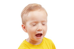 Portrait of a little boy screaming out loud isolated on white. Close-up crying portrait of a little boy screaming out loud isolated on white background Stock Images