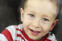 Portrait of little boy smiling stock images