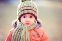 Portrait of a little boy in the snow Royalty Free Stock Image