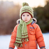 Portrait of a little boy in the snow Royalty Free Stock Photos