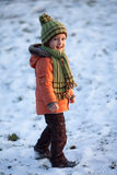 Portrait of a little boy in the snow Royalty Free Stock Images