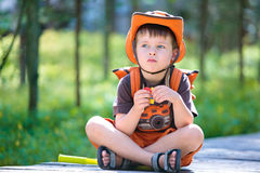 Portrait of a little boy in summer forest Royalty Free Stock Images