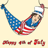 Portrait of little boy in Uncle Sam costume resting in hammock of the American flag, Happy 4th of July, card design. Drawn by hand 2d illustration in pop art Stock Images