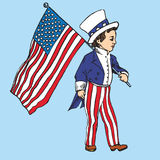 Portrait of little boy in Uncle Sam costume walking with American flag. Drawn by hand 2d illustration in pop art doodle comics style Royalty Free Stock Photography