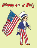 Portrait of little boy in Uncle Sam costume walking with American flag, Happy 4th of July, card design. Drawn by hand 2d illustration in pop art doodle comics Stock Images