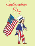 Portrait of little boy in Uncle Sam costume walking with American flag, Independence day, card design. Drawn by hand 2d illustration in pop art doodle comics Stock Photos