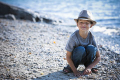 Portrait of a little boy wearing hat Royalty Free Stock Images