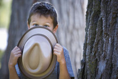 Portrait of a little boy wearing hat Stock Photo