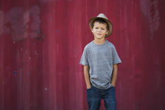Portrait of a little boy wearing hat Stock Photography