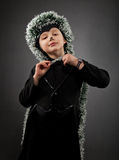 Portrait of the little boy wearing hedgehog suit Royalty Free Stock Photography