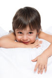 Little boy on the white Stock Images