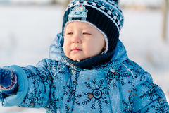 Portrait of little boy in winter Stock Image