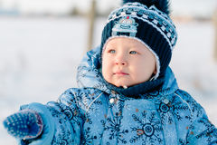 Portrait of little boy in winter Royalty Free Stock Photo