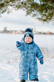 Portrait of little boy in winter Stock Photos