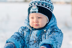 Portrait of little boy in winter Stock Photography