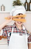 Portrait of a little chef hat and apron Royalty Free Stock Image