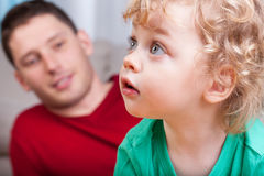 Portrait of little child with dad Royalty Free Stock Photo
