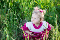 Portrait of little child girl on grass on meadow. Royalty Free Stock Photography