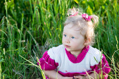 Portrait of little child girl on grass on meadow. Royalty Free Stock Photos