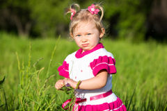Portrait of little child girl on grass on meadow. Stock Photography