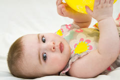 Portrait of little child 6 month old baby girl. Portrait of very sweet little child 6 month old baby girl stock photography