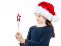 Portrait of a little Christmas girl with eyes closed Stock Images