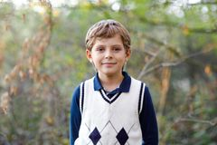 Portrait of little cool kid boy in forest. Happy healthy child having fun on warm sunny day early autumn. Family, nature stock photography