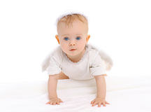 Portrait of little curious baby crawls Royalty Free Stock Image