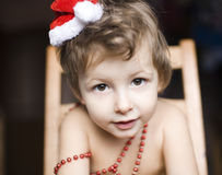 Portrait of little cute boy in Christmas Stock Photography