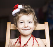 Portrait of little cute boy in Christmas Stock Images