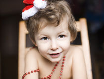 Portrait of little cute boy in Christmas Royalty Free Stock Images