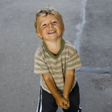 Portrait of little cute boy outside Stock Photo