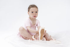 Portrait of Little Cute Caucasian Girl Posing as Ballerina and W Stock Photo