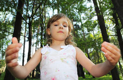 Portrait of little cute girl with curly hair Royalty Free Stock Images