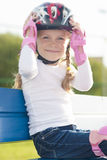 Portrait of little cute girl in helmet Stock Photography