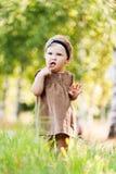 Portrait little cute girl holding Stock Image