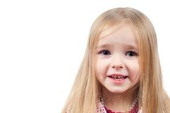 Portrait of little cute girl with long hair Stock Photos