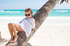 Portrait of little cute girl sitting on palm tree Royalty Free Stock Photo